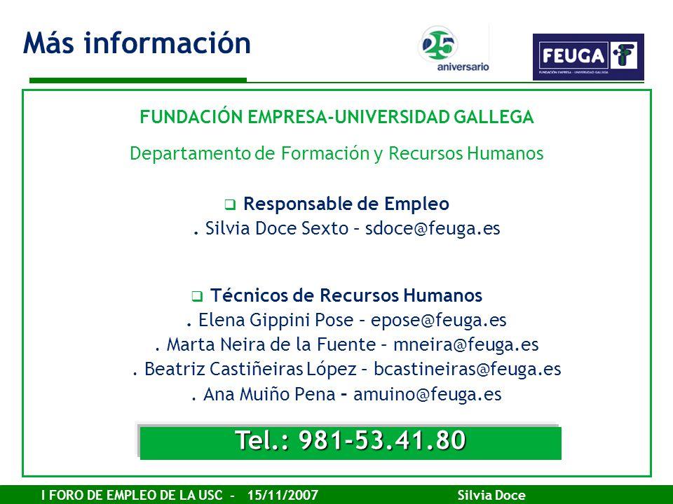 I FORO DE EMPLEO DE LA USC - 15/11/2007 Silvia Doce FUNDACIÓN EMPRESA-UNIVERSIDAD GALLEGA Departamento de Formación y Recursos Humanos Responsable de