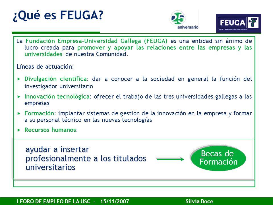 I FORO DE EMPLEO DE LA USC - 15/11/2007 Silvia Doce La Fundación Empresa-Universidad Gallega (FEUGA) es una entidad sin ánimo de lucro creada para pro