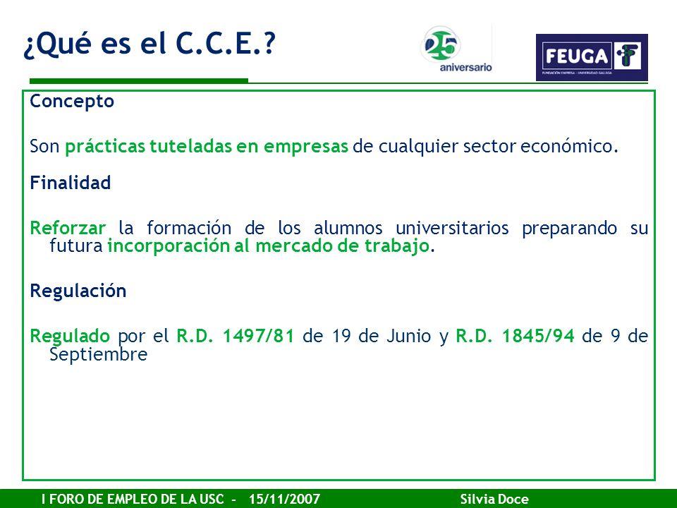 I FORO DE EMPLEO DE LA USC - 15/11/2007 Silvia Doce Concepto Son prácticas tuteladas en empresas de cualquier sector económico. Finalidad Reforzar la