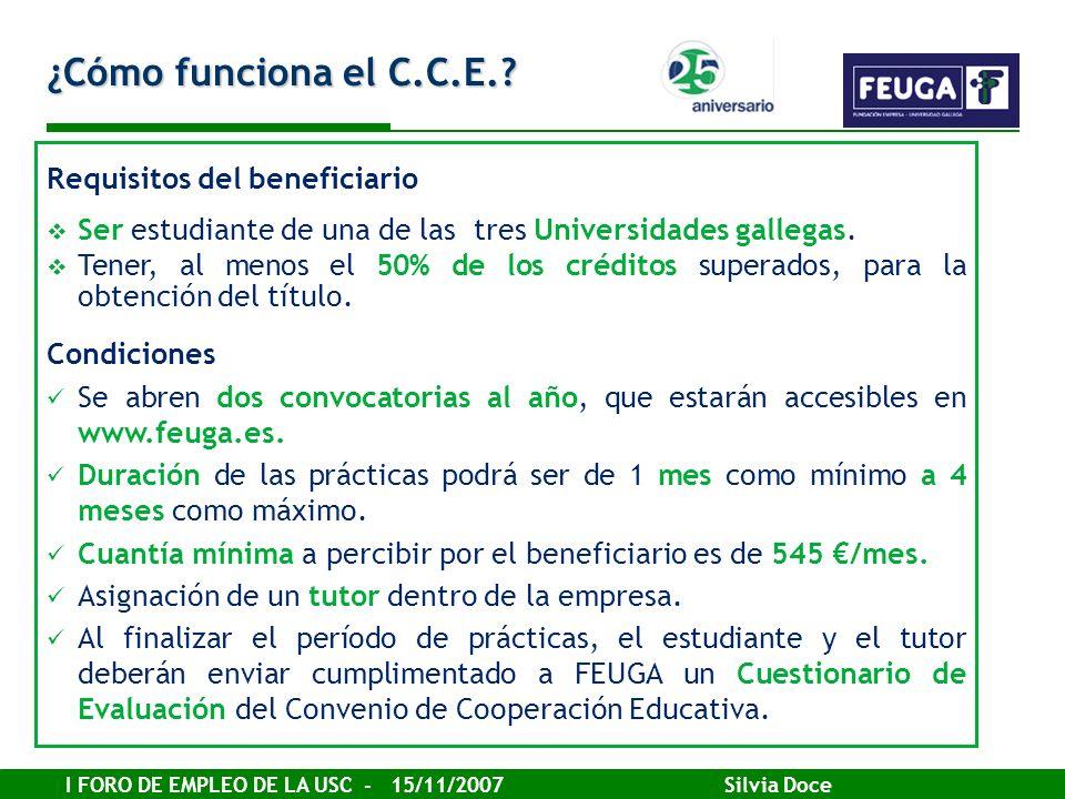 I FORO DE EMPLEO DE LA USC - 15/11/2007 Silvia Doce ¿Cómo funciona el C.C.E.? Requisitos del beneficiario Ser estudiante de una de las tres Universida
