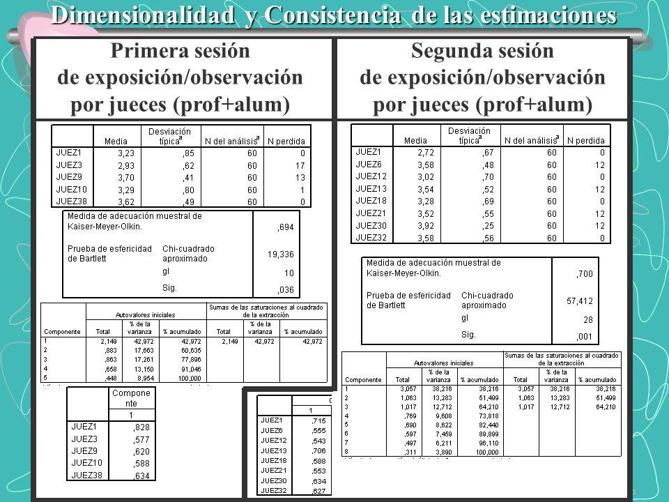 Dimensionalidad y Consistencia de las estimaciones Primera sesión de exposición/observación por jueces (prof+alum) Segunda sesión de exposición/observ
