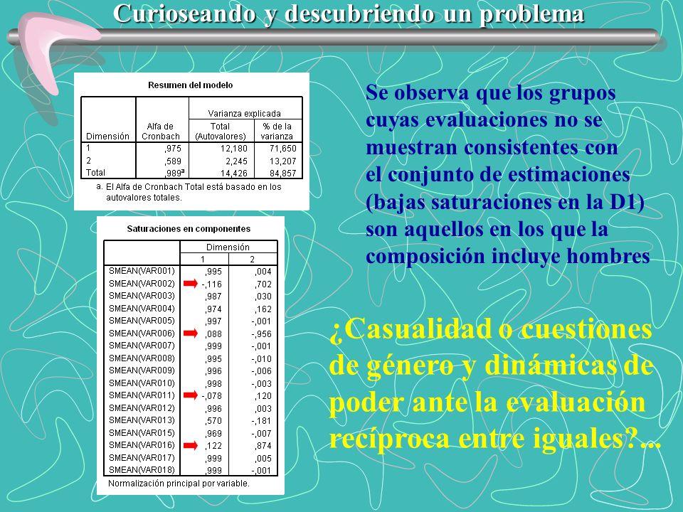 Se observa que los grupos cuyas evaluaciones no se muestran consistentes con el conjunto de estimaciones (bajas saturaciones en la D1) son aquellos en