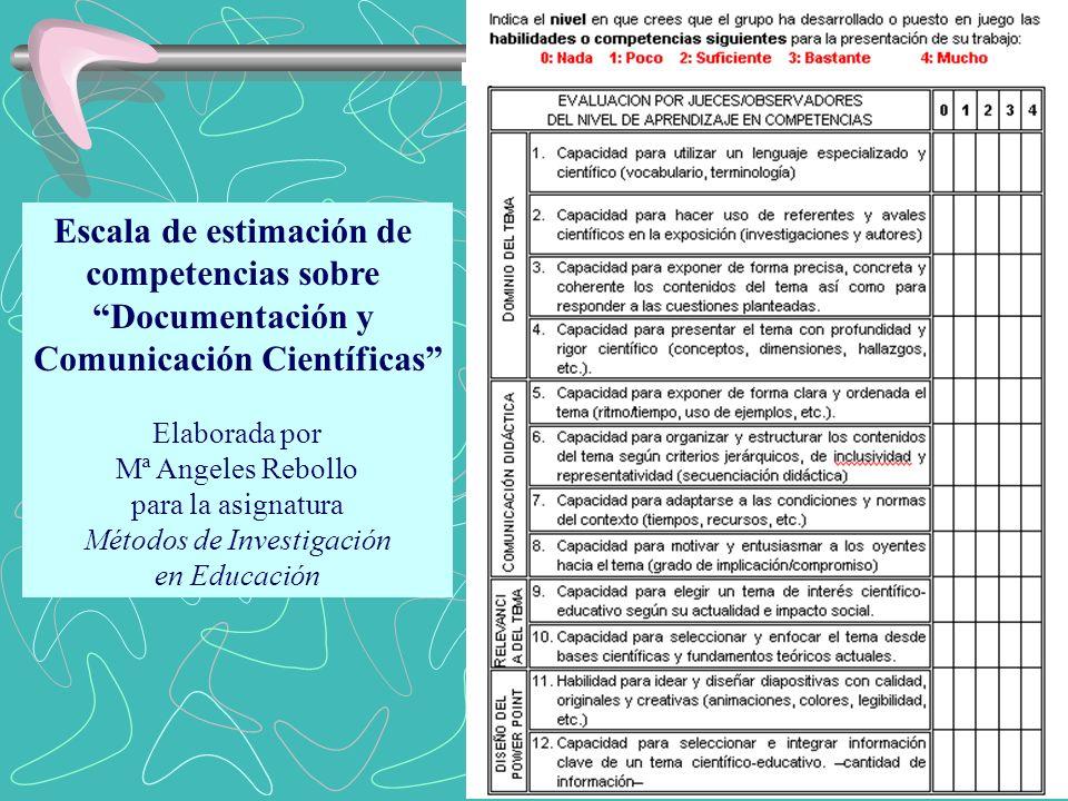 Escala de estimación de competencias sobre Documentación y Comunicación Científicas Elaborada por Mª Angeles Rebollo para la asignatura Métodos de Inv