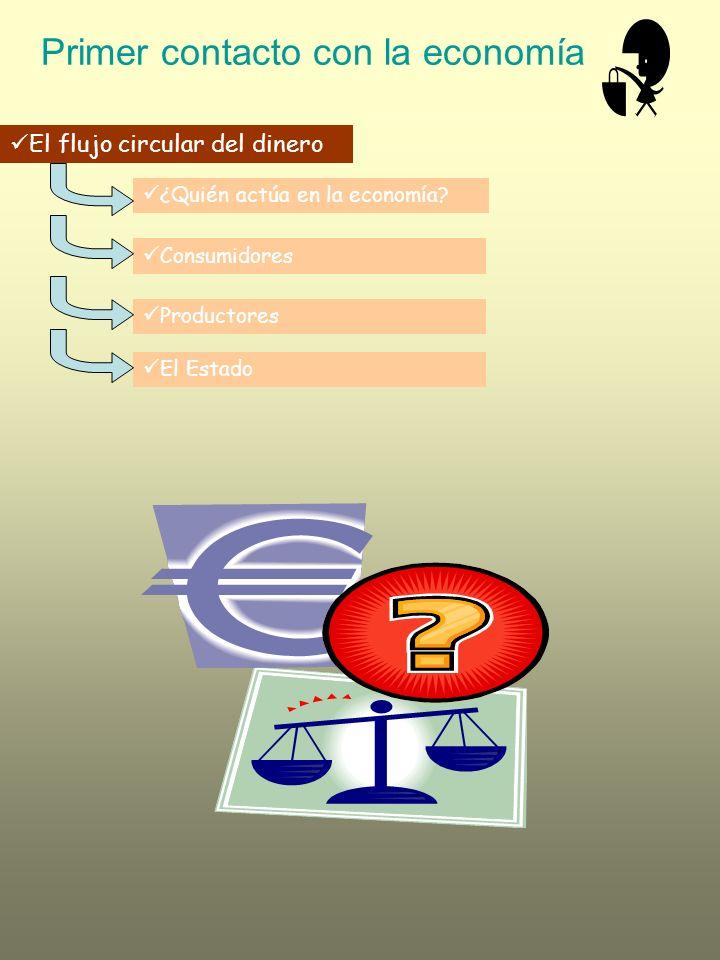 Primer contacto con la economía El flujo circular del dinero ¿Quién actúa en la economía? Consumidores Productores El Estado