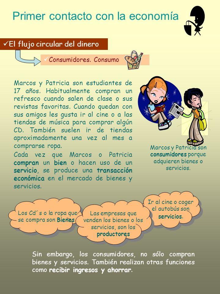 Primer contacto con la economía El flujo circular del dinero Consumidores. Consumo Marcos y Patricia son estudiantes de 17 años. Habitualmente compran