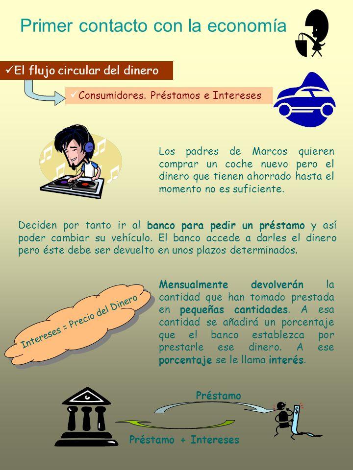 Primer contacto con la economía El flujo circular del dinero Productores.