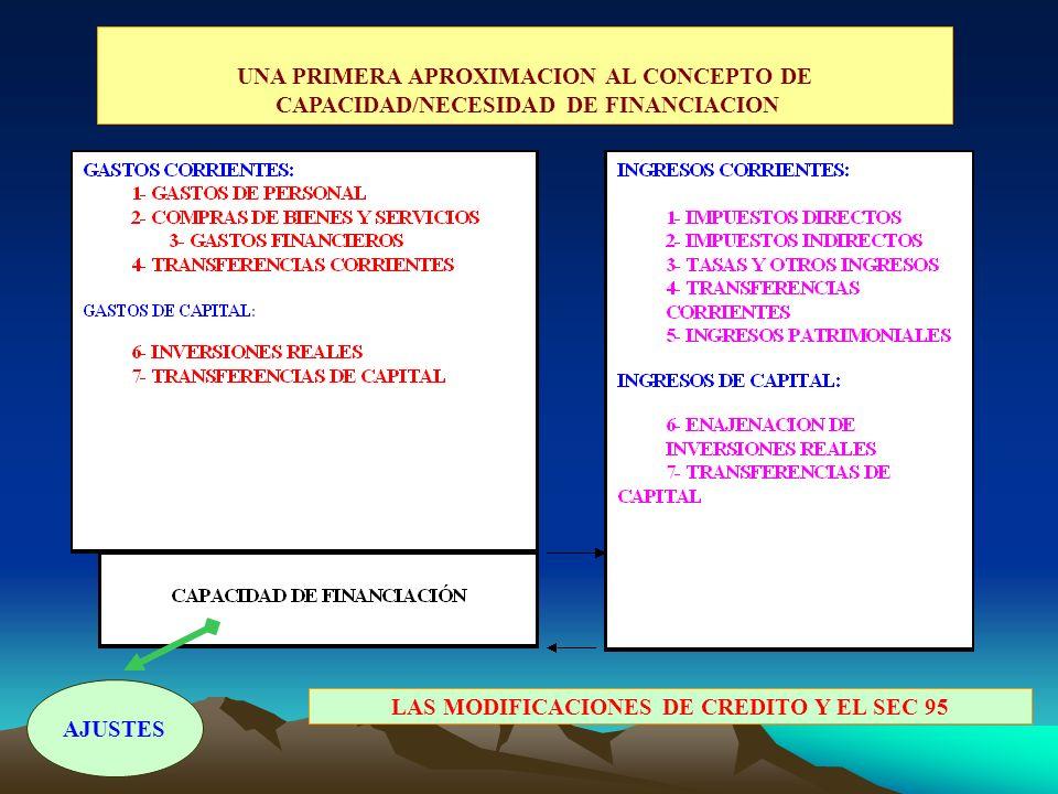UNA PRIMERA APROXIMACION AL CONCEPTO DE CAPACIDAD/NECESIDAD DE FINANCIACION LAS MODIFICACIONES DE CREDITO Y EL SEC 95 AJUSTES