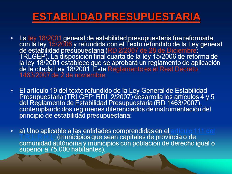ESTABILIDAD PRESUPUESTARIA La ley 18/2001 general de estabilidad presupuestaria fue reformada con la ley 15/2006 y refundida con el Texto refundido de