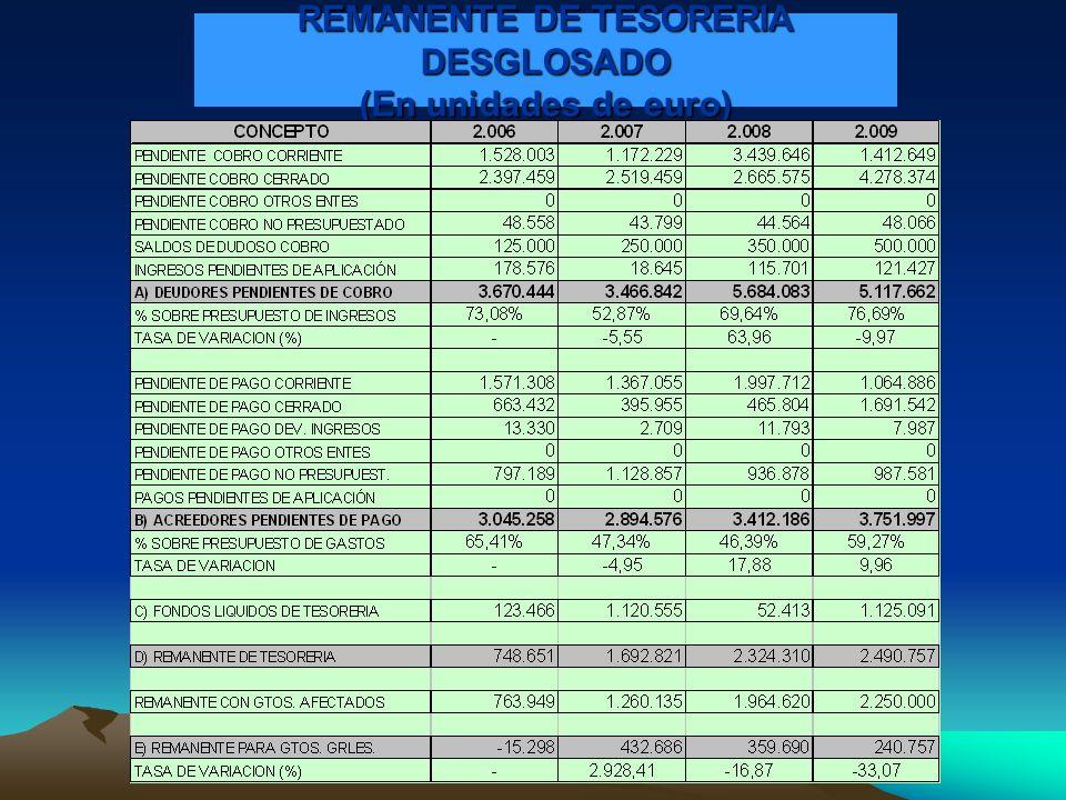 REMANENTE DE TESORERIA DESGLOSADO (En unidades de euro)