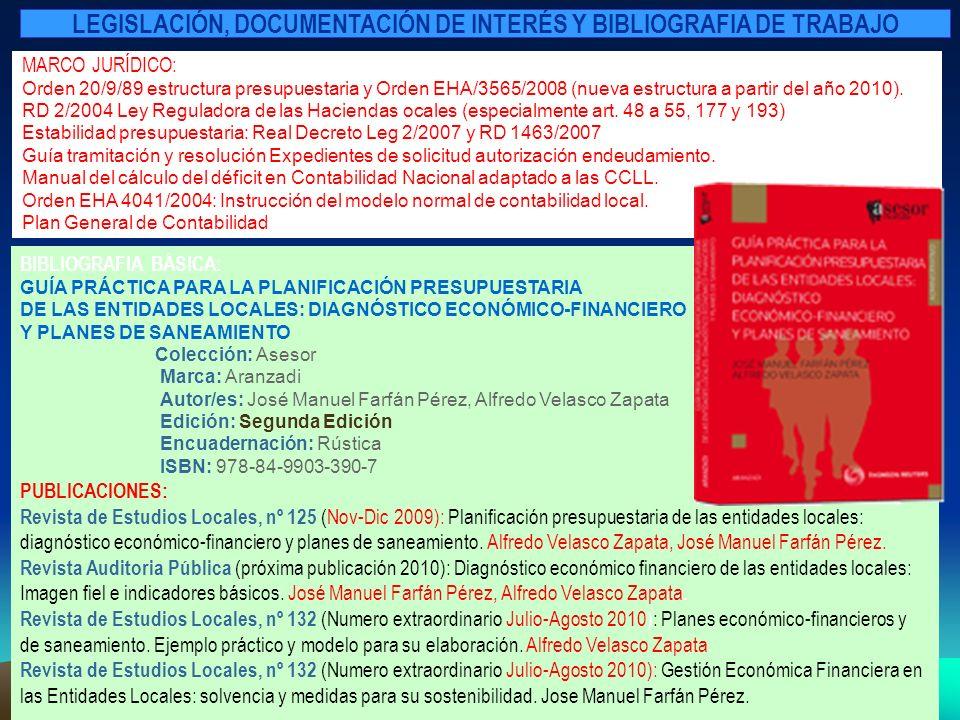 MARCO JURÍDICO: Orden 20/9/89 estructura presupuestaria y Orden EHA/3565/2008 (nueva estructura a partir del año 2010). RD 2/2004 Ley Reguladora de la