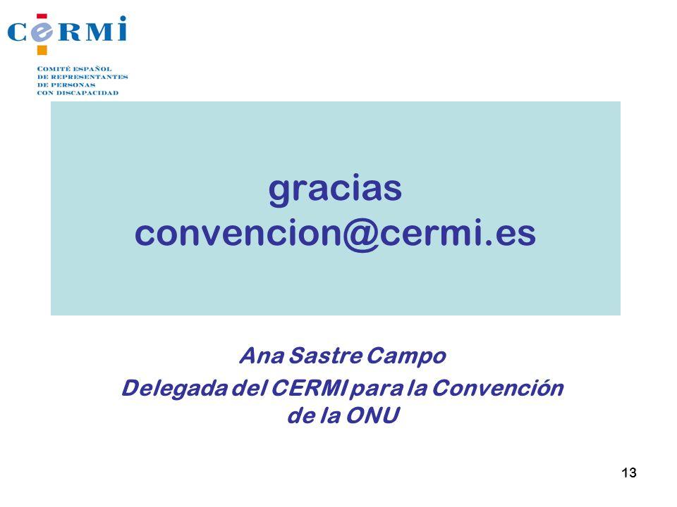 gracias convencion@cermi.es Ana Sastre Campo Delegada del CERMI para la Convención de la ONU 13