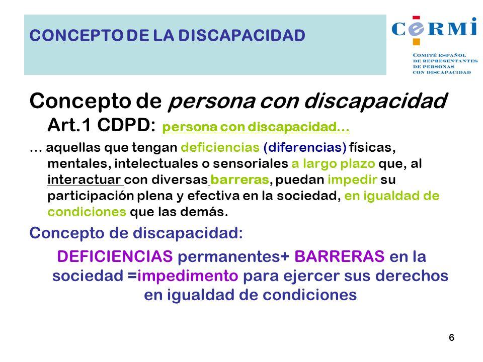 Concepto de persona con discapacidad Art.1 CDPD: persona con discapacidad… … aquellas que tengan deficiencias (diferencias) físicas, mentales, intelec