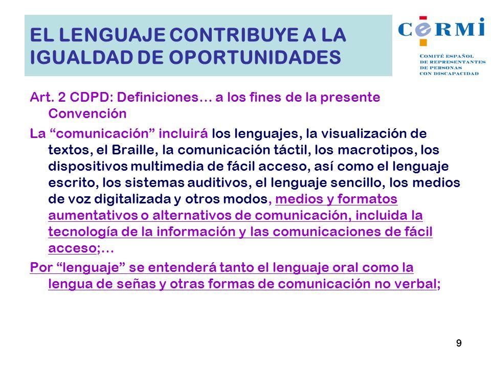 EL LENGUAJE CONTRIBUYE A LA IGUALDAD DE OPORTUNIDADES Art. 2 CDPD: Definiciones… a los fines de la presente Convención La comunicación incluirá los le