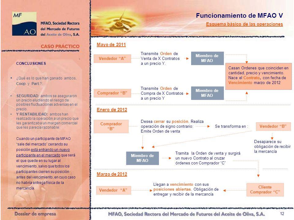 12 Funcionamiento de MFAO V Esquema básico de las operaciones Mayo de 2011 Enero de 2012 Comprador B Casan Ordenes que coinciden en cantidad, precio y