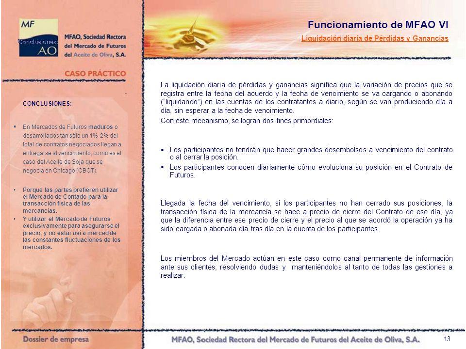 13 Funcionamiento de MFAO VI Liquidación diaria de Pérdidas y Ganancias La liquidación diaria de pérdidas y ganancias significa que la variación de pr