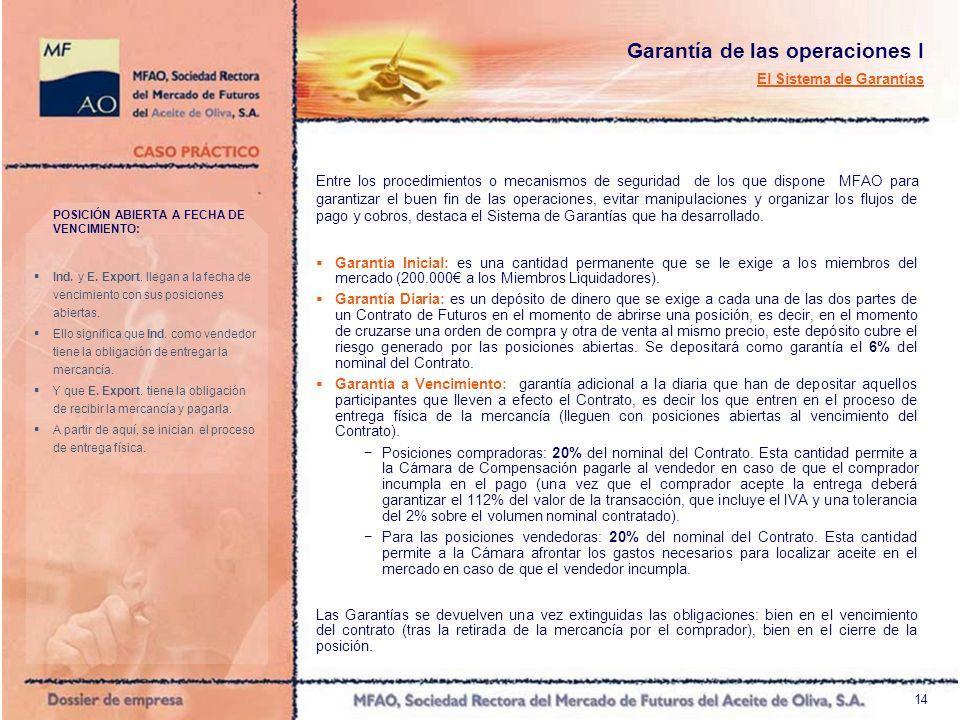 14 Garantía de las operaciones I El Sistema de Garantías Entre los procedimientos o mecanismos de seguridad de los que dispone MFAO para garantizar el