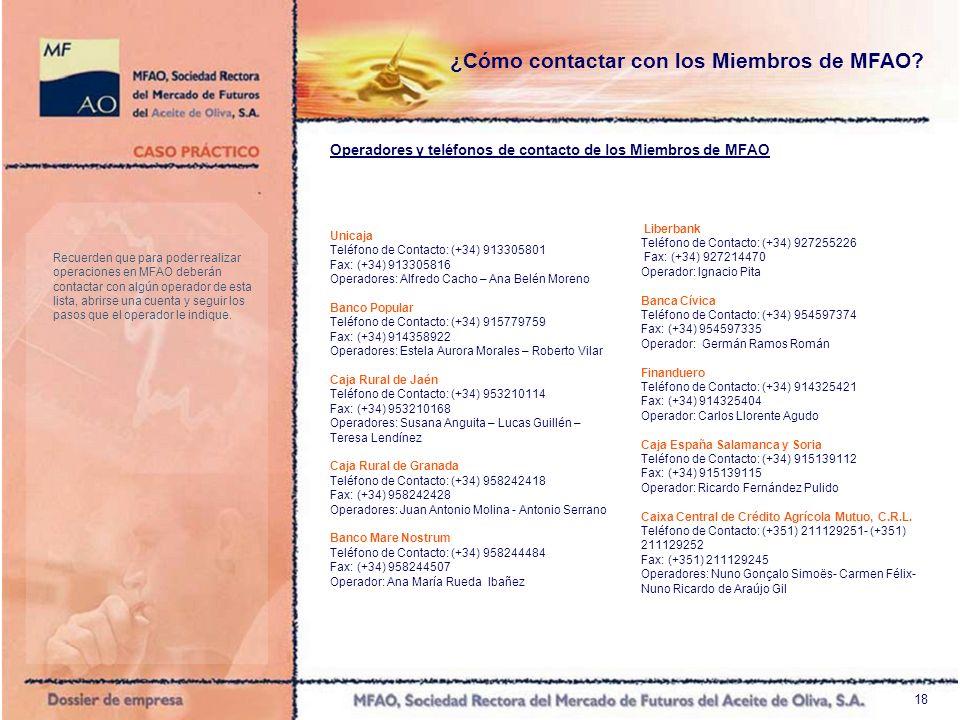 18 Unicaja Teléfono de Contacto: (+34) 913305801 Fax: (+34) 913305816 Operadores: Alfredo Cacho – Ana Belén Moreno Banco Popular Teléfono de Contacto: