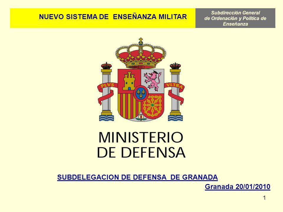 Subdirección General de Ordenación y Política de Enseñanza 1 NUEVO SISTEMA DE ENSEÑANZA MILITAR SUBDELEGACION DE DEFENSA DE GRANADA Granada 20/01/2010