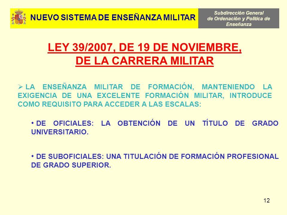 Subdirección General de Ordenación y Política de Enseñanza 12 LEY 39/2007, DE 19 DE NOVIEMBRE, DE LA CARRERA MILITAR LA ENSEÑANZA MILITAR DE FORMACIÓN