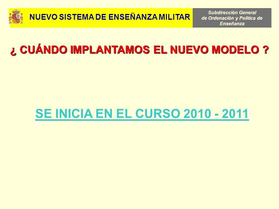 Subdirección General de Ordenación y Política de Enseñanza SE INICIA EN EL CURSO 2010 - 2011 ¿ CUÁNDO IMPLANTAMOS EL NUEVO MODELO ? NUEVO SISTEMA DE E