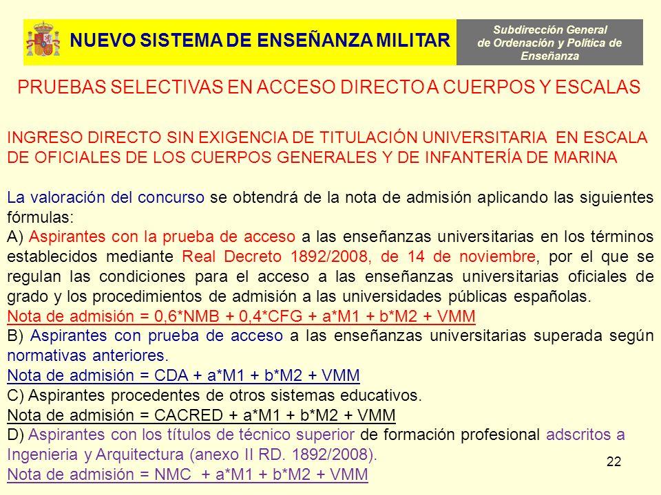 Subdirección General de Ordenación y Política de Enseñanza 22 NUEVO SISTEMA DE ENSEÑANZA MILITAR PRUEBAS SELECTIVAS EN ACCESO DIRECTO A CUERPOS Y ESCA