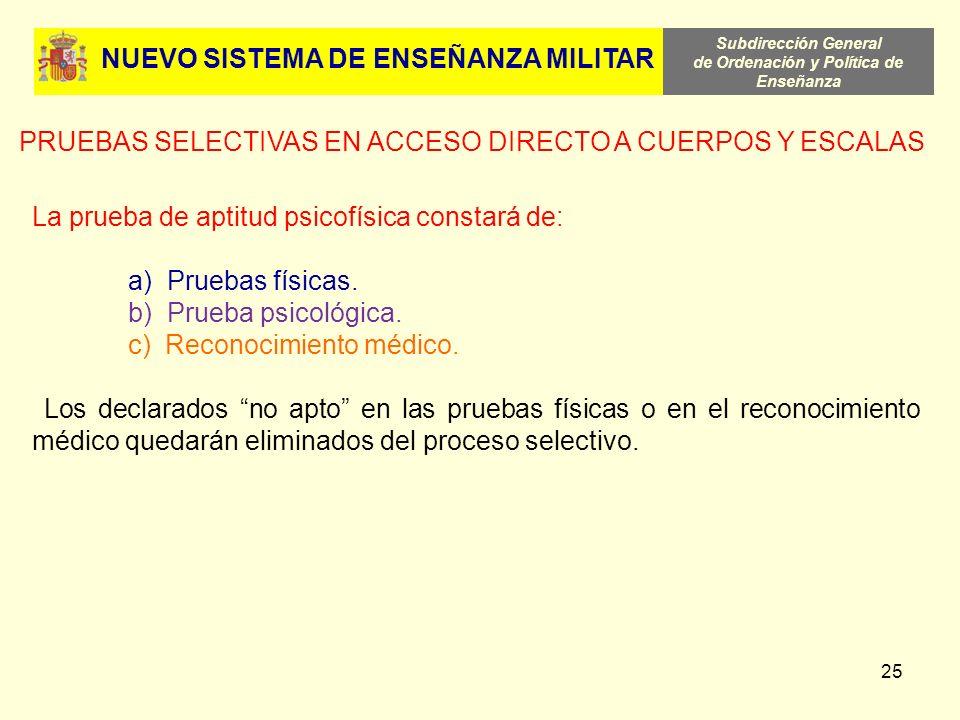 Subdirección General de Ordenación y Política de Enseñanza 25 NUEVO SISTEMA DE ENSEÑANZA MILITAR PRUEBAS SELECTIVAS EN ACCESO DIRECTO A CUERPOS Y ESCA
