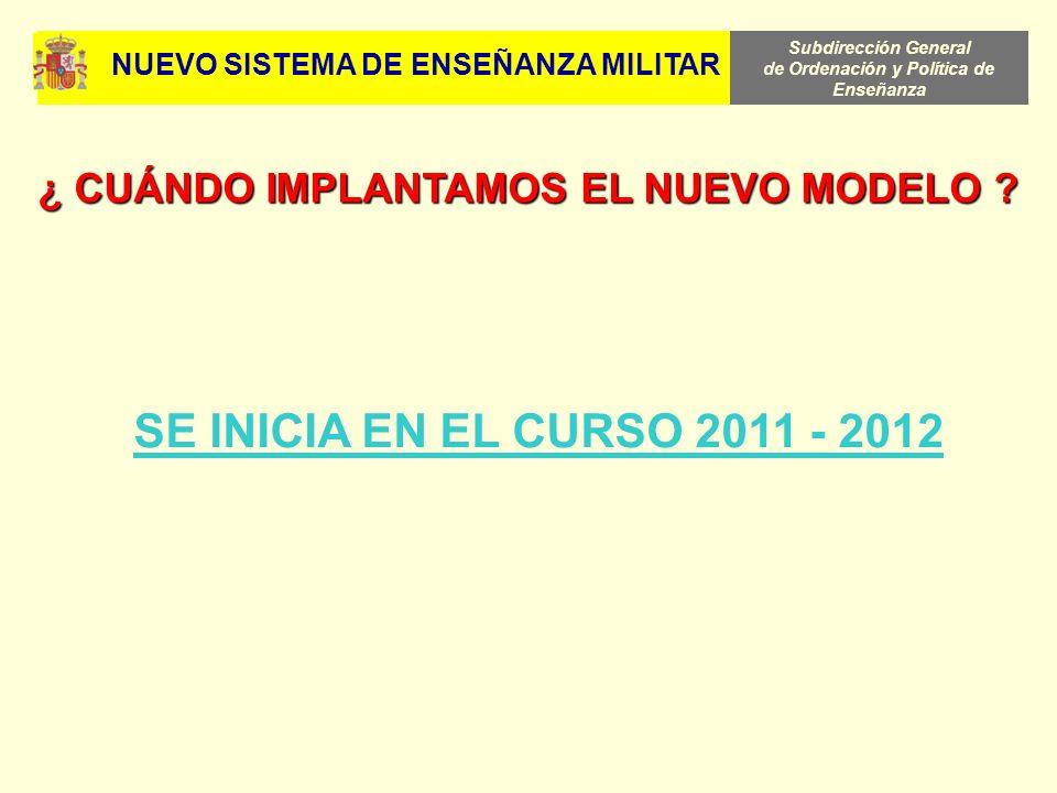 Subdirección General de Ordenación y Política de Enseñanza SE INICIA EN EL CURSO 2011 - 2012 ¿ CUÁNDO IMPLANTAMOS EL NUEVO MODELO ? NUEVO SISTEMA DE E