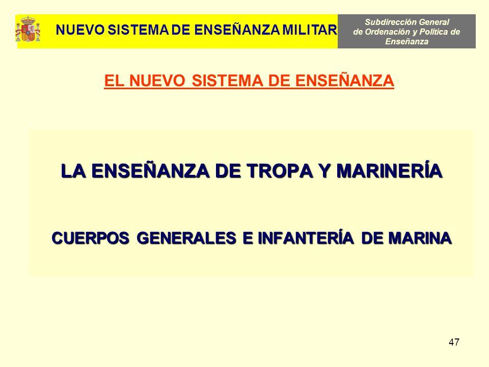 Subdirección General de Ordenación y Política de Enseñanza 47 LA ENSEÑANZA DE TROPA Y MARINERÍA CUERPOS GENERALES E INFANTERÍA DE MARINA EL NUEVO SIST