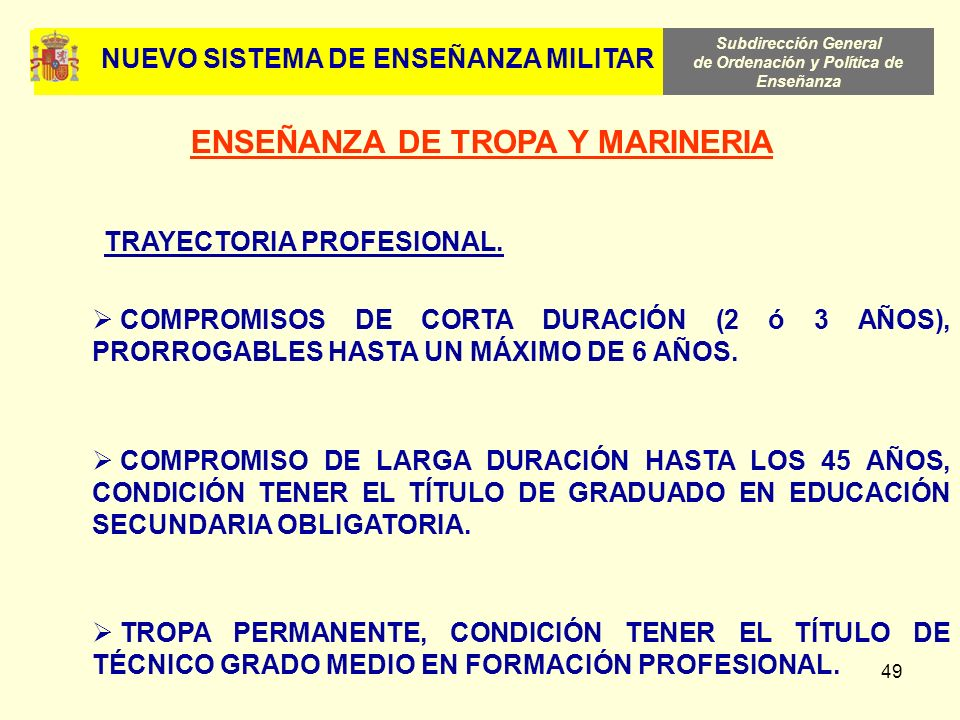 Subdirección General de Ordenación y Política de Enseñanza 49 COMPROMISOS DE CORTA DURACIÓN (2 ó 3 AÑOS), PRORROGABLES HASTA UN MÁXIMO DE 6 AÑOS. COMP