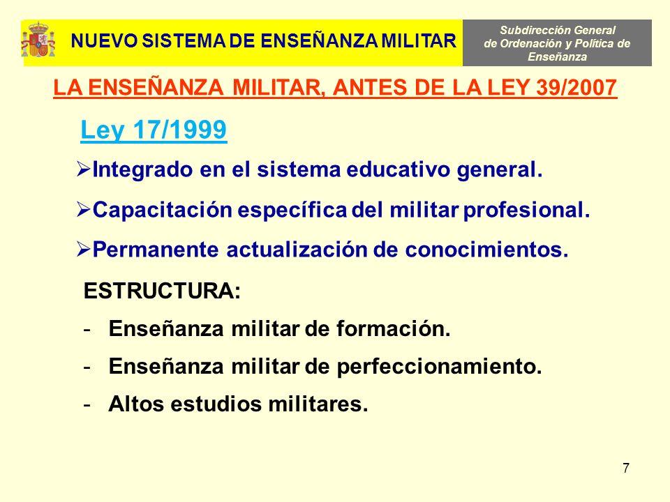 Subdirección General de Ordenación y Política de Enseñanza 7 Integrado en el sistema educativo general. Capacitación específica del militar profesiona