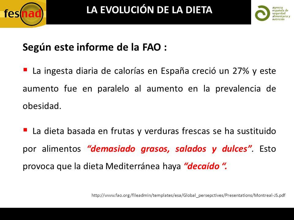 La ingesta diaria de calorías en España creció un 27% y este aumento fue en paralelo al aumento en la prevalencia de obesidad. La dieta basada en frut