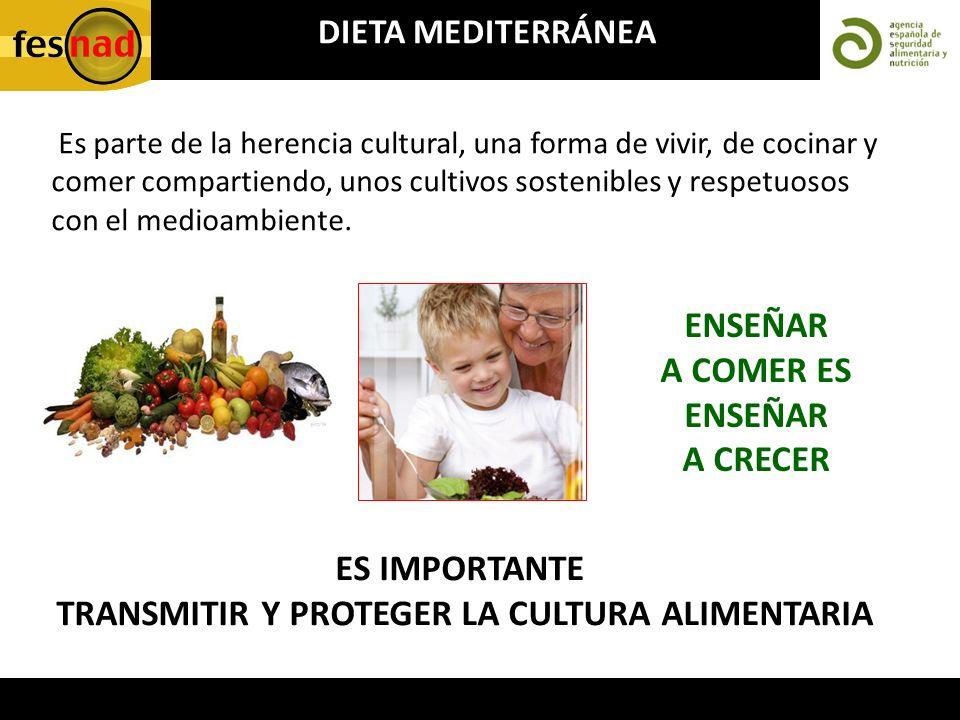 DIETA MEDITERRÁNEA Es parte de la herencia cultural, una forma de vivir, de cocinar y comer compartiendo, unos cultivos sostenibles y respetuosos con