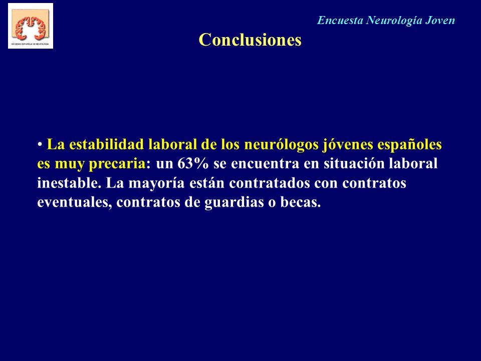 Encuesta Neurología Joven Conclusiones La estabilidad laboral de los neurólogos jóvenes españoles es muy precaria: un 63% se encuentra en situación la