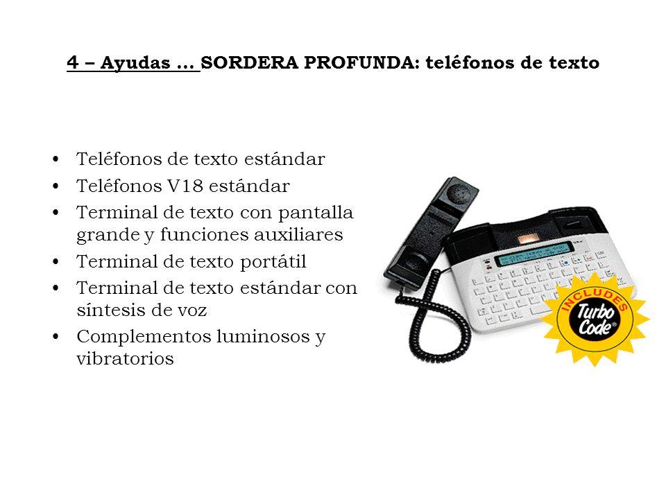 4 – Ayudas … SORDERA PROFUNDA: teléfonos de texto Teléfonos de texto estándar Teléfonos V18 estándar Terminal de texto con pantalla grande y funciones