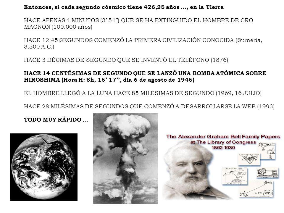 Entonces, si cada segundo cósmico tiene 426,25 años …, en la Tierra HACE APENAS 4 MINUTOS (3 54) QUE SE HA EXTINGUIDO EL HOMBRE DE CRO MAGNON (100.000