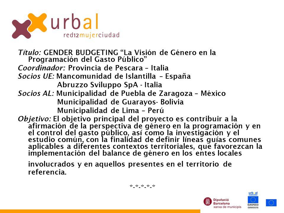 Título: GENDER BUDGETING La Visión de Género en la Programación del Gasto Público Coordinador: Provincia de Pescara – Italia Socios UE: Mancomunidad d