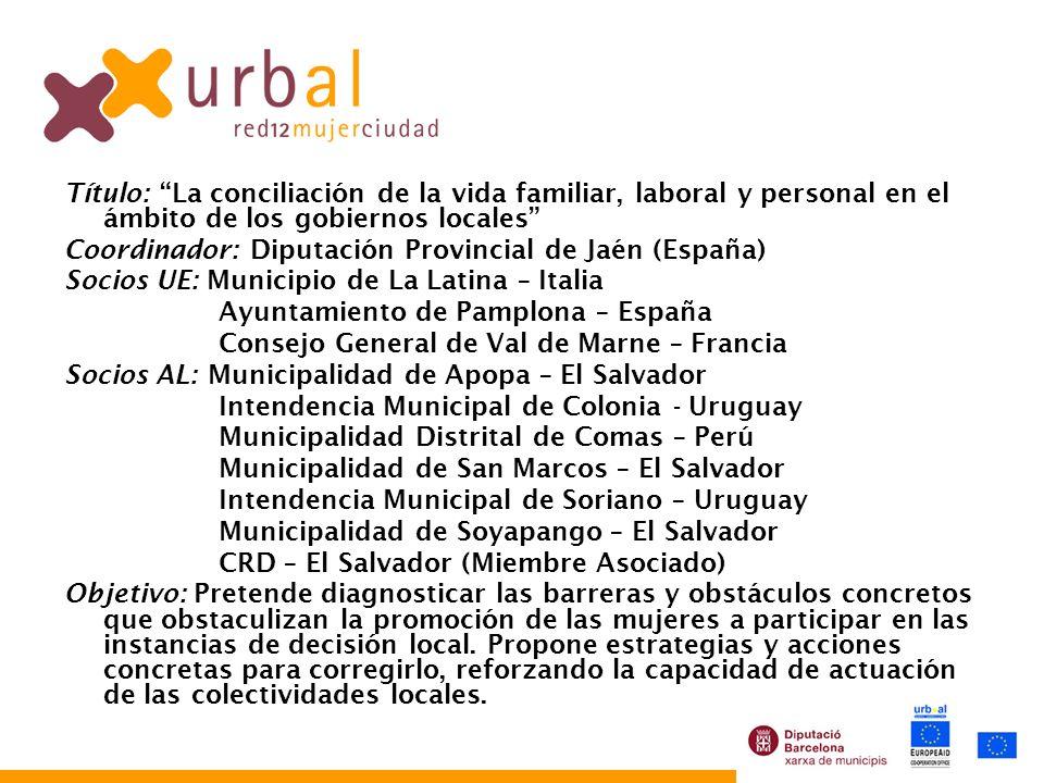 Título: La conciliación de la vida familiar, laboral y personal en el ámbito de los gobiernos locales Coordinador: Diputación Provincial de Jaén (Espa