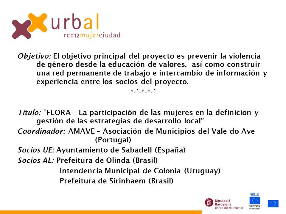 Objetivo: El objetivo principal del proyecto es prevenir la violencia de género desde la educación de valores, así como construir una red permanente d