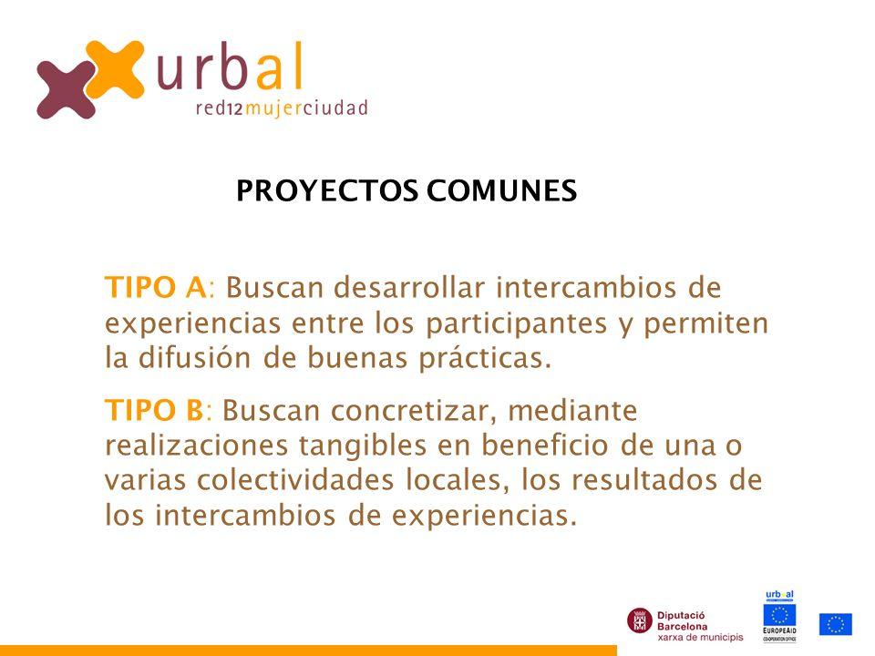PROYECTOS COMUNES TIPO A: Buscan desarrollar intercambios de experiencias entre los participantes y permiten la difusión de buenas prácticas. TIPO B: