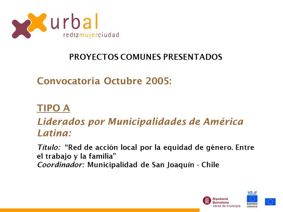 PROYECTOS COMUNES PRESENTADOS Convocatoria Octubre 2005: TIPO A Liderados por Municipalidades de América Latina: Título: Red de acción local por la equidad de género.