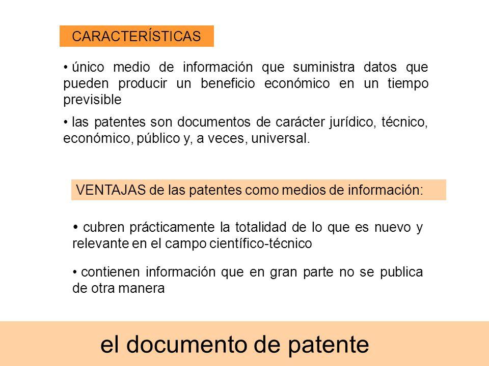 el documento de patente único medio de información que suministra datos que pueden producir un beneficio económico en un tiempo previsible las patente