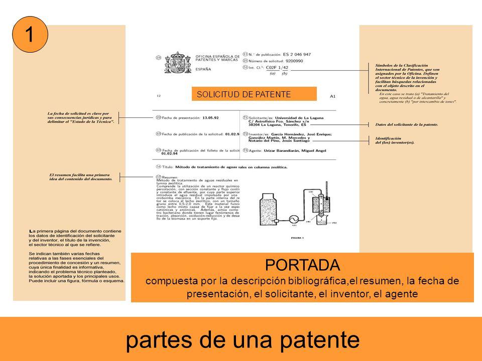 partes de una patente SOLICITUD DE PATENTE 1 PORTADA compuesta por la descripción bibliográfica,el resumen, la fecha de presentación, el solicitante,