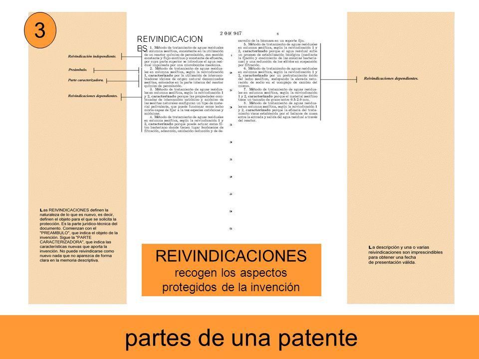 REIVINDICACION ES 3 recogen los aspectos protegidos de la invención partes de una patente