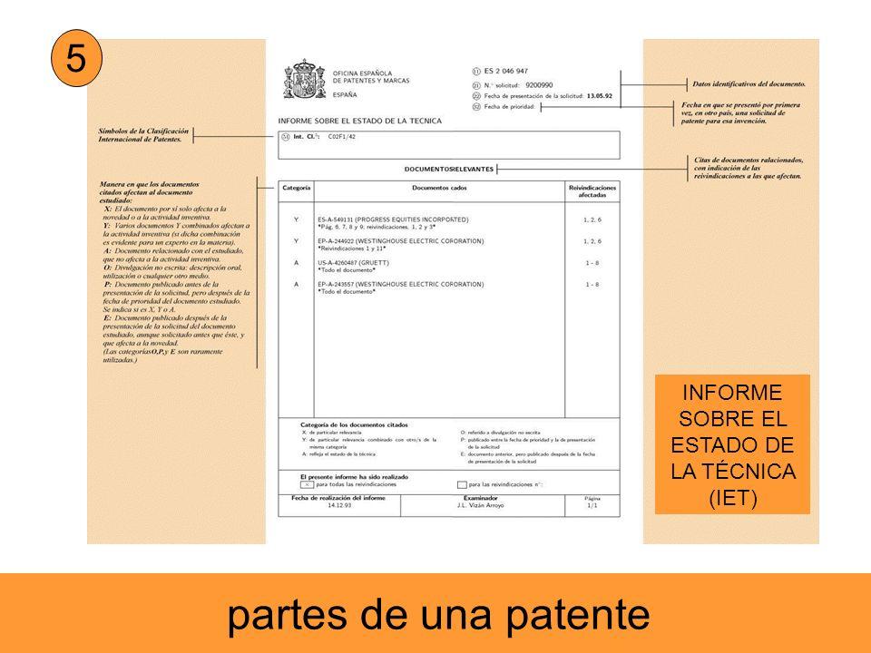 5 INFORME SOBRE EL ESTADO DE LA TÉCNICA (IET) partes de una patente