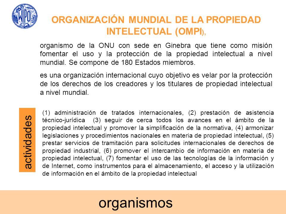 ORGANIZACIÓN MUNDIAL DE LA PROPIEDAD INTELECTUAL (OMPI ), organismo de la ONU con sede en Ginebra que tiene como misión fomentar el uso y la protecció