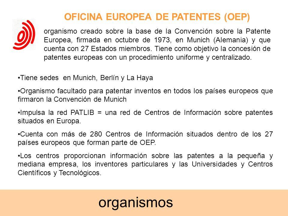OFICINA EUROPEA DE PATENTES (OEP) organismo creado sobre la base de la Convención sobre la Patente Europea, firmada en octubre de 1973, en Munich (Ale