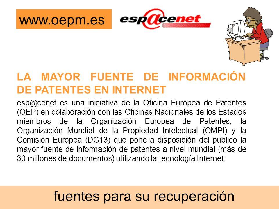 esp@cenet es una iniciativa de la Oficina Europea de Patentes (OEP) en colaboración con las Oficinas Nacionales de los Estados miembros de la Organiza