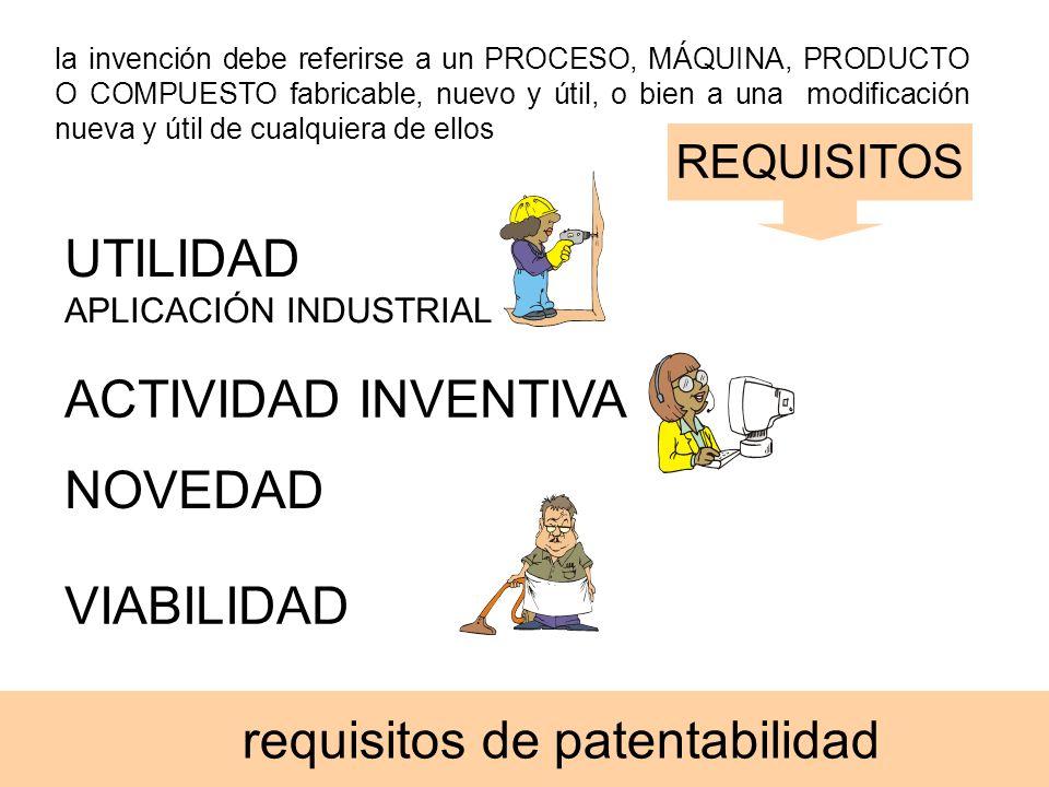 requisitos de patentabilidad la invención debe referirse a un PROCESO, MÁQUINA, PRODUCTO O COMPUESTO fabricable, nuevo y útil, o bien a una modificaci