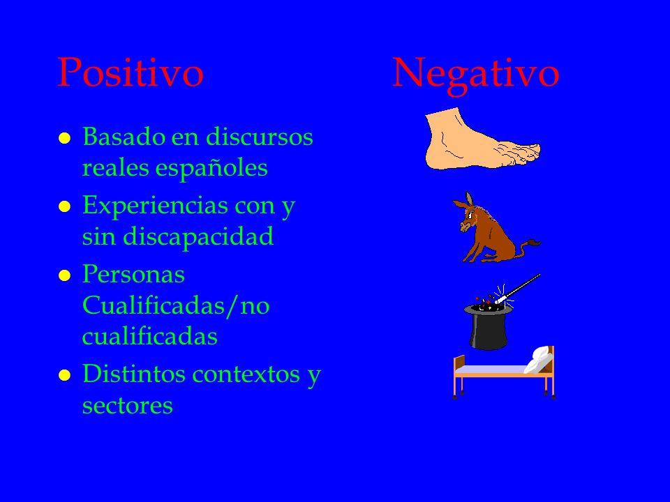 PositivoNegativo l Basado en discursos reales españoles l Experiencias con y sin discapacidad l Personas Cualificadas/no cualificadas l Distintos cont