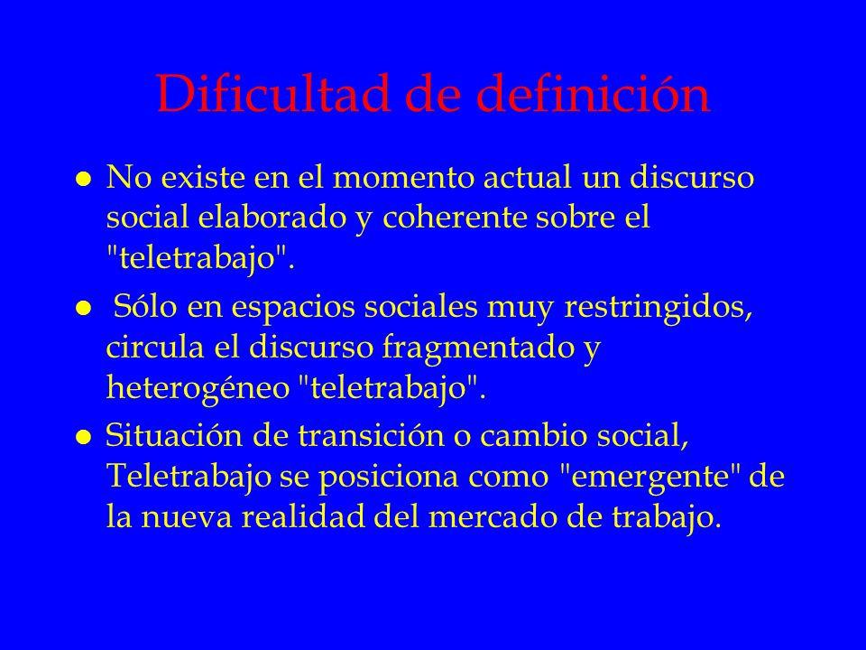 Dificultad de definición l No existe en el momento actual un discurso social elaborado y coherente sobre el
